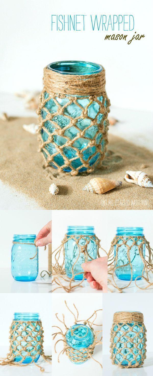Fishnet Wrapped Mason Jar #masonjardiy Mason Jar Crafts: Fishnet Wrapped Mason Jar Craft - Macrame Mason Jar Craft - Beach Decor Ideas with Mason Jars and Fishnets #masonjarbathroom