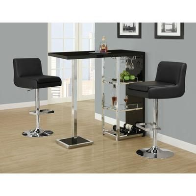 Perfect Monarch Specialties   Glossy Black / Chrome Metal 48 Inch L Bar Table   I  2342