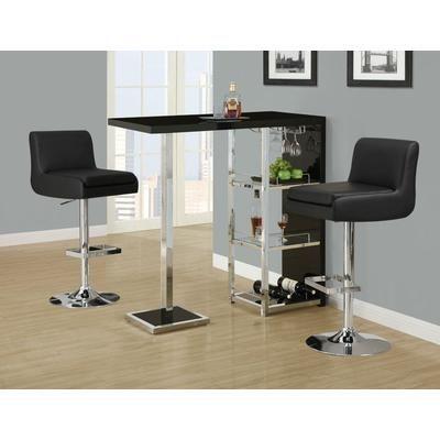 Monarch Specialties   Glossy Black / Chrome Metal 48 Inch L Bar Table   I  2342