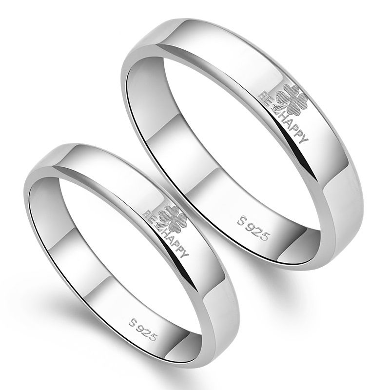 Be Happy S925 Sterling Silver Mens Ladies Couple Promise Ring ...