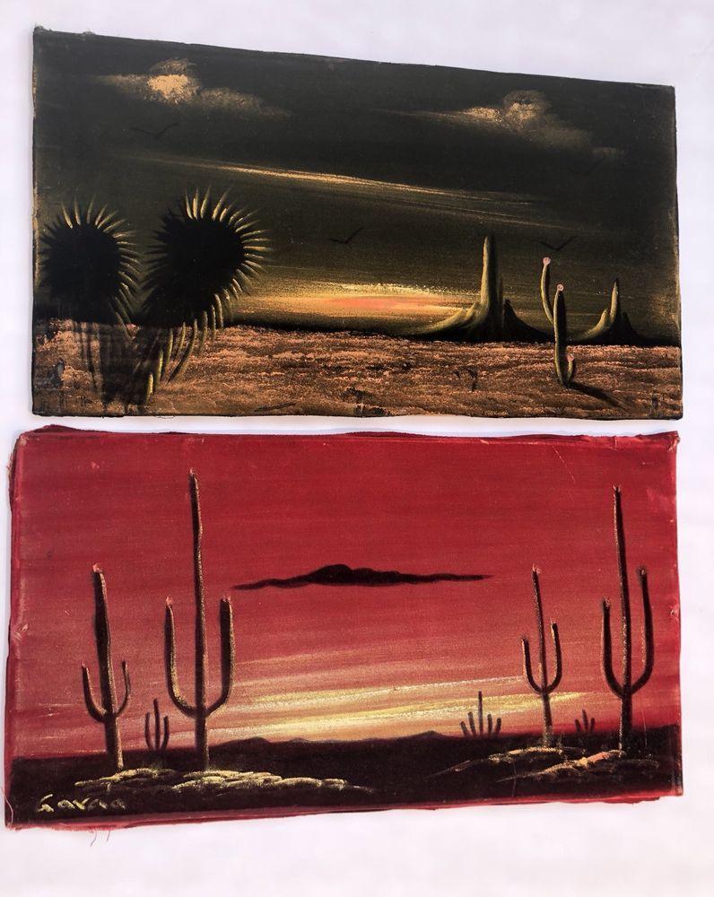 Lot vintage velvet painting desert mid century modern wall art