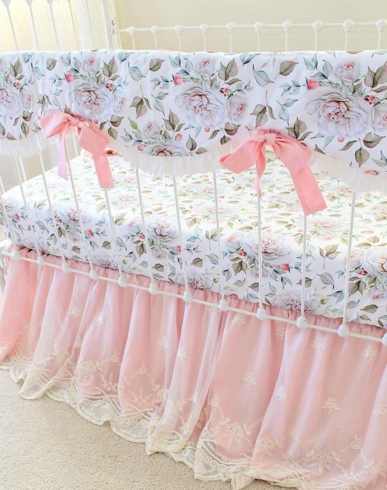 Girls Farmhouse Crib Bedding Set Blush Pink And White Baby Etsy In 2020 Girl Crib Bedding Sets Crib Bedding Girl Baby Girl Crib Bedding Sets