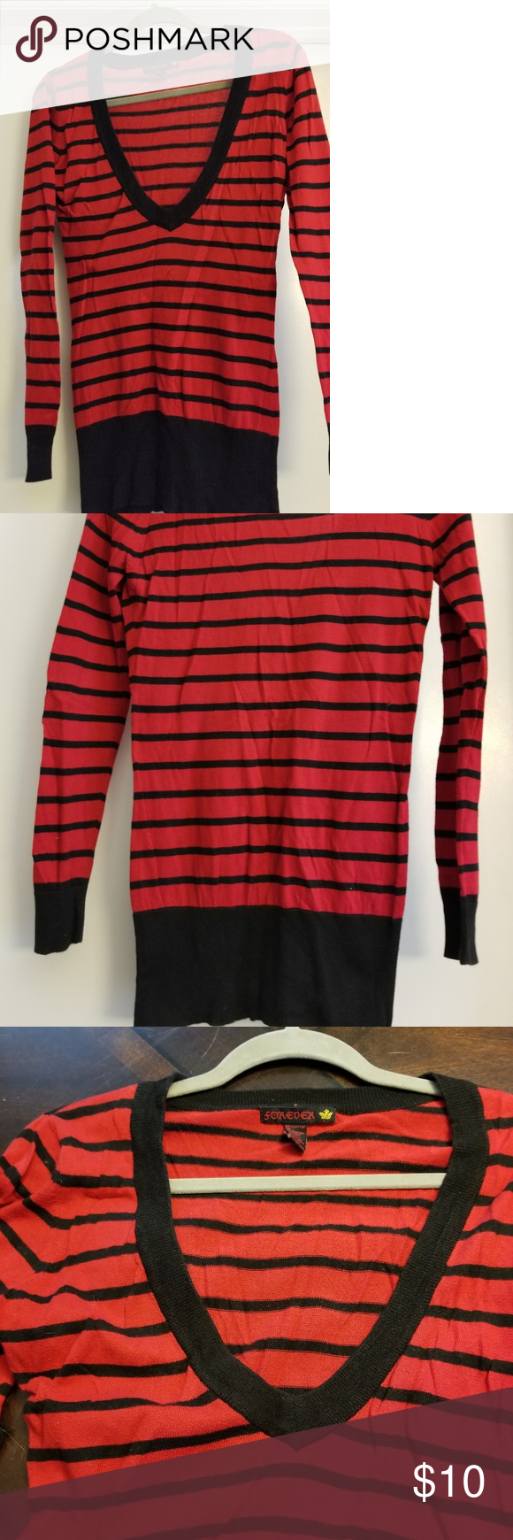 c0ae37ed8cee69 Red & black striped v-neck long sleeve sweater Tunic length, deep v ...