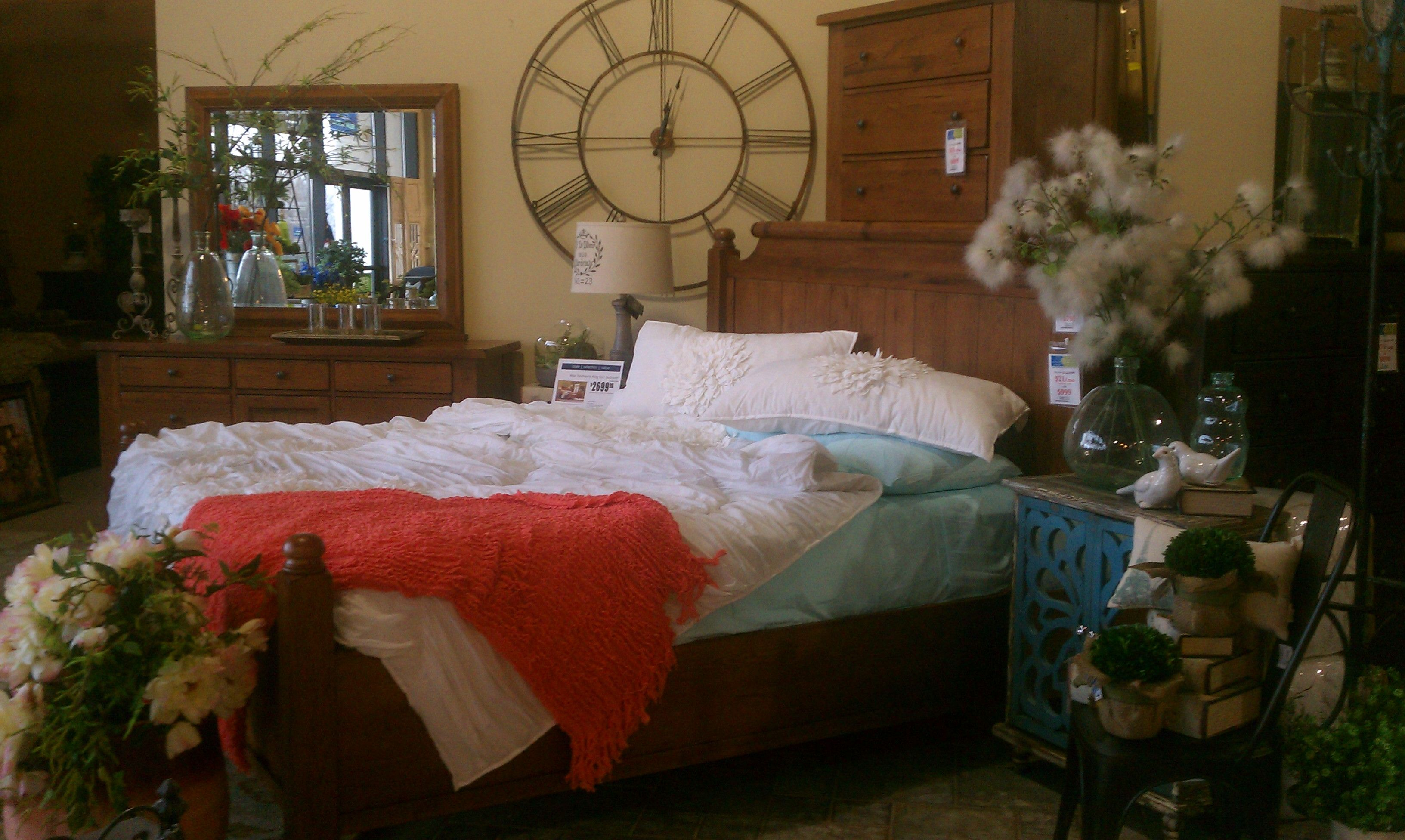 Broyhill Authentic Feather Bed Decked Out In Sky Blue