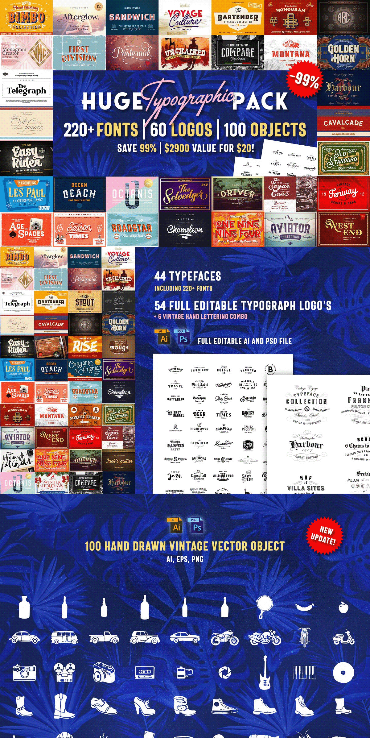 Download Huge Typographic Pack + 60 Logos on Behance This pack ...