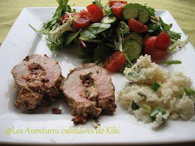 Faits avec amour /Les Aventures culinaires de Kiki: Filet de porc farci au pesto de tomates séchées et olives et au fromage de chèvre