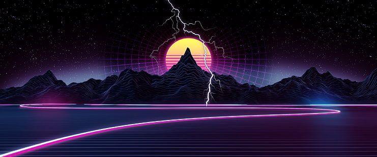 Retrowave Synthwave Neon Ultrawide Grid Landscape Vaporwave Hd Wallpaper Vaporwave Wallpaper Hd Wallpaper Retro Waves