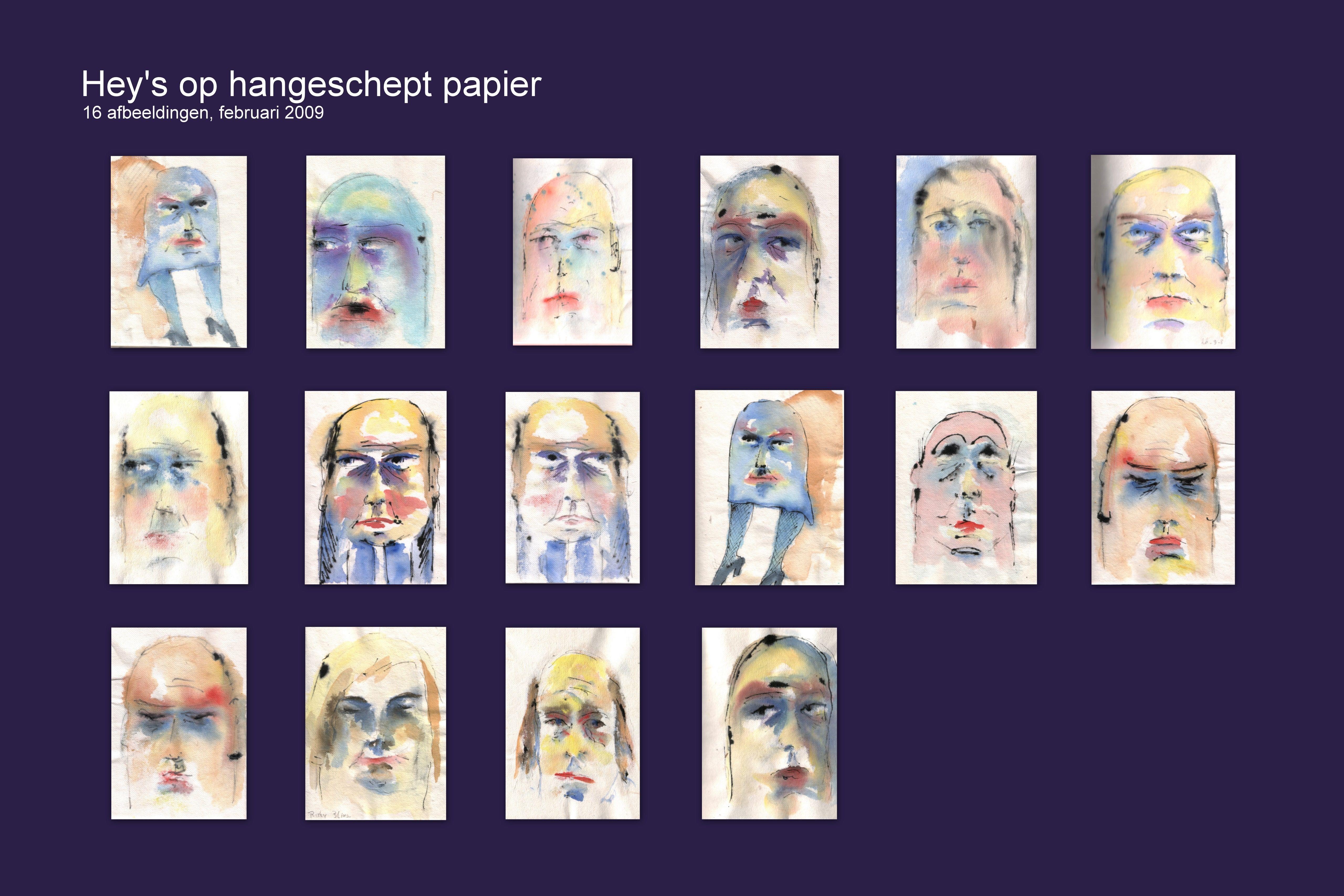 Hey aquarellen op handgeschept papier