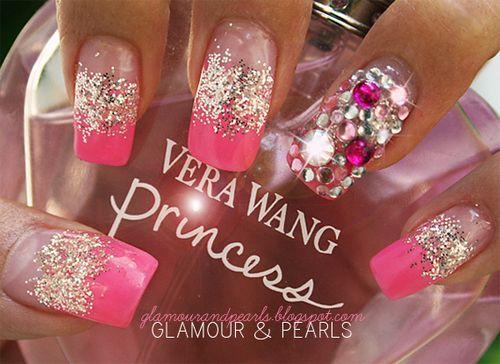 Nail Art Pink Rhinestones Sparkle