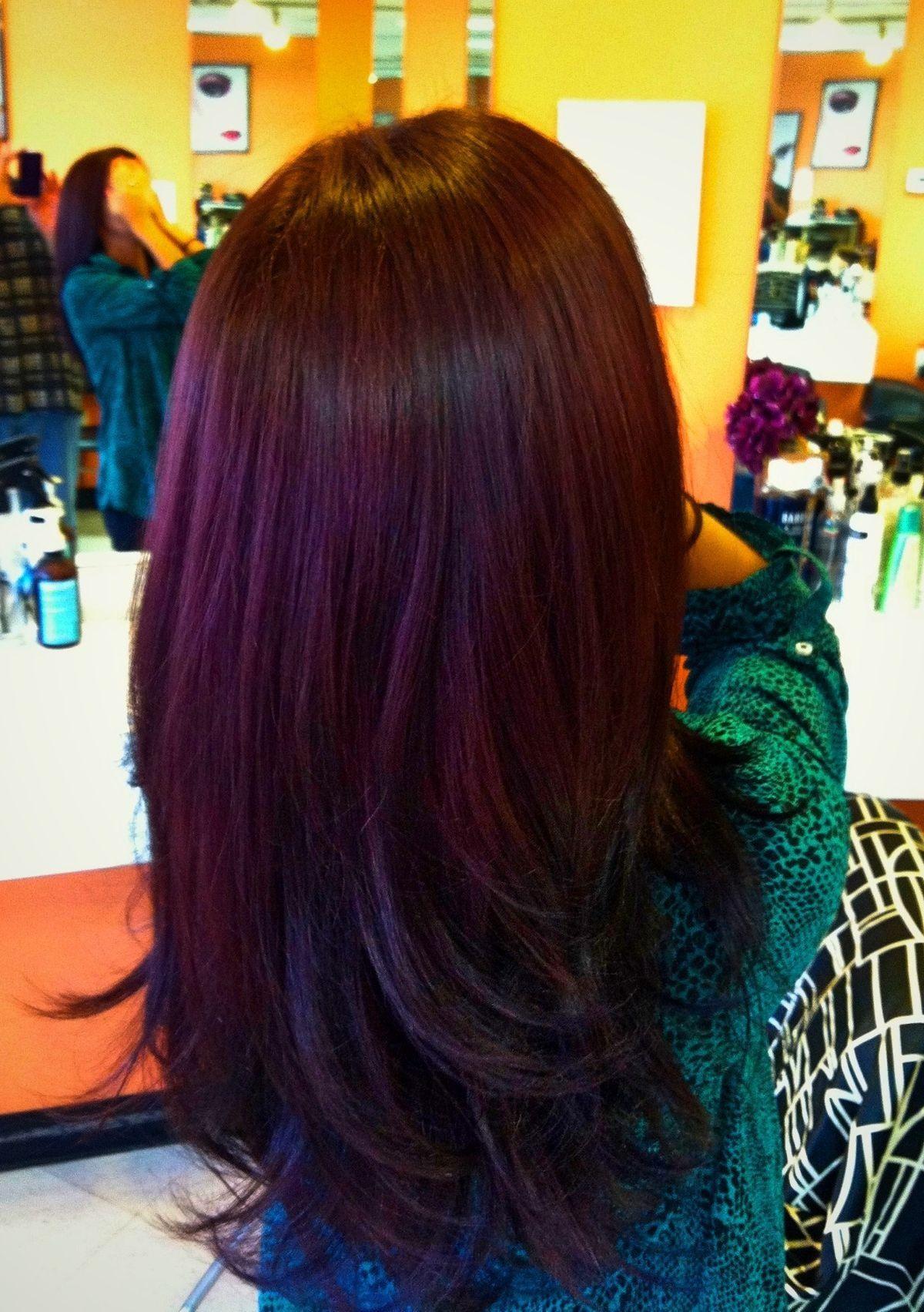 Lovin the plum color over brown!   Hair Looove.   Pinterest   Hair ...
