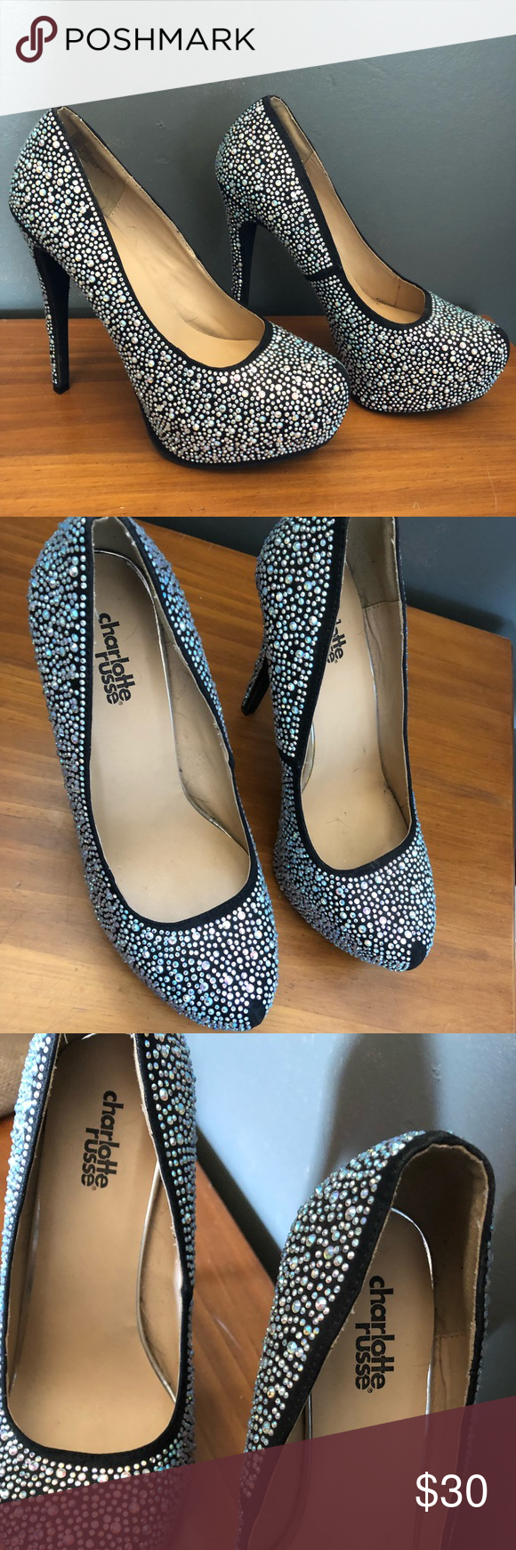 """Charlotte Russe """"Cinderella"""" Heels Brand: Charlotte Reusse  Size: 7 (I normally wear a 7-7.5 and they fit perfectly)  Condition: Brand New & never worn (no tags or original box, purchased for $55) Charlotte Russe Shoes Heels"""