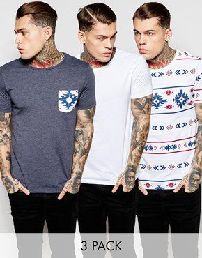 ASOS T-Shirt With Plain Print And Printed Pocket 3 Pack SAVE 18%