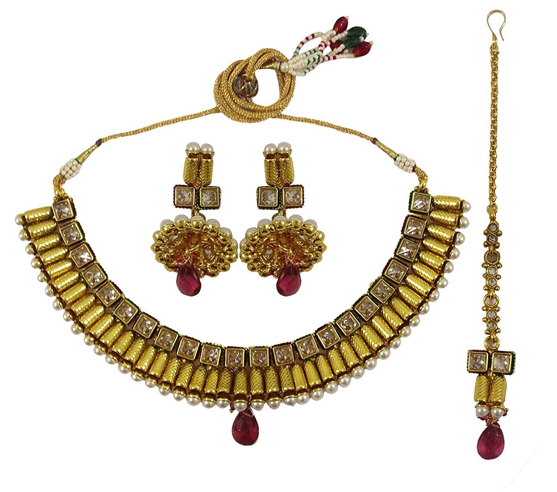 Matra goldtone kundan cz traditional indian bollywood pcs necklace