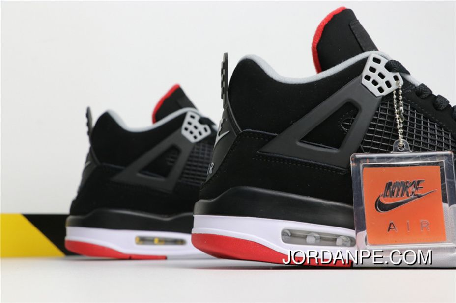 the latest d45ef 15140 Air Jordan 4 Retro OG BRED Aj4 308497-060 Black Cement Grey-Summit