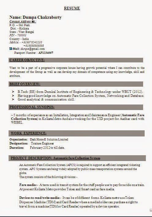 cv pattern Sample Template ofBeautiful Curriculum Vitae \/ Resume - elevator repair sample resume