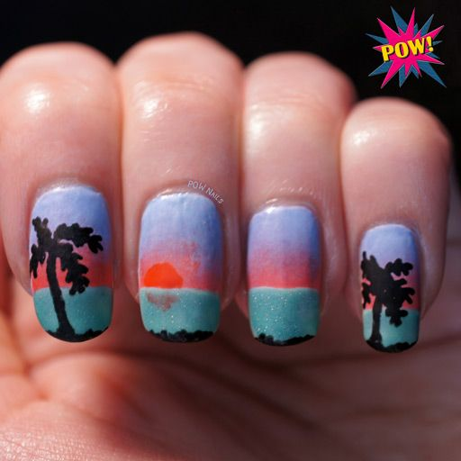Tropical sunset nail art on the blog - click through to read more about how  I - Tropical Sunset Nail Art On The Blog - Click Through To Read More