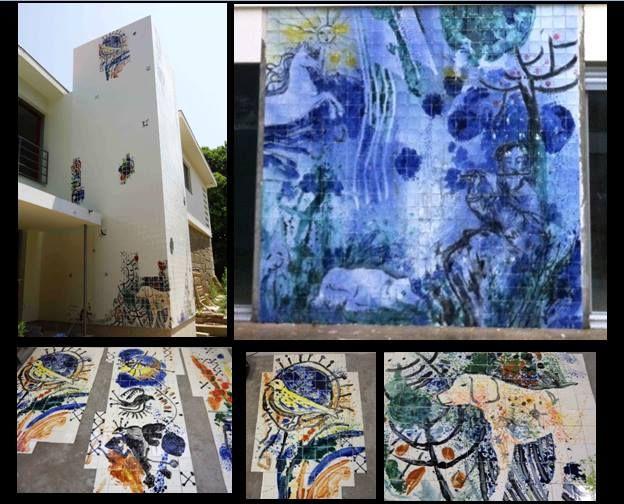 Alberto Péssimo Conjunto de vários paineis, executado na oficina em 2012. Encomenda para uma residência particular na cidade do Porto. Azulejo 10cmx10cm