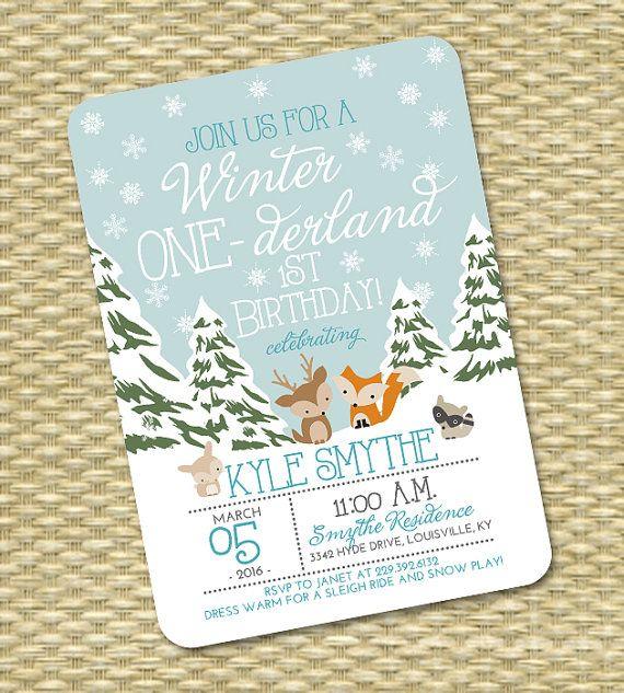 winter one derland 1st birthday invitation first birthday invitation