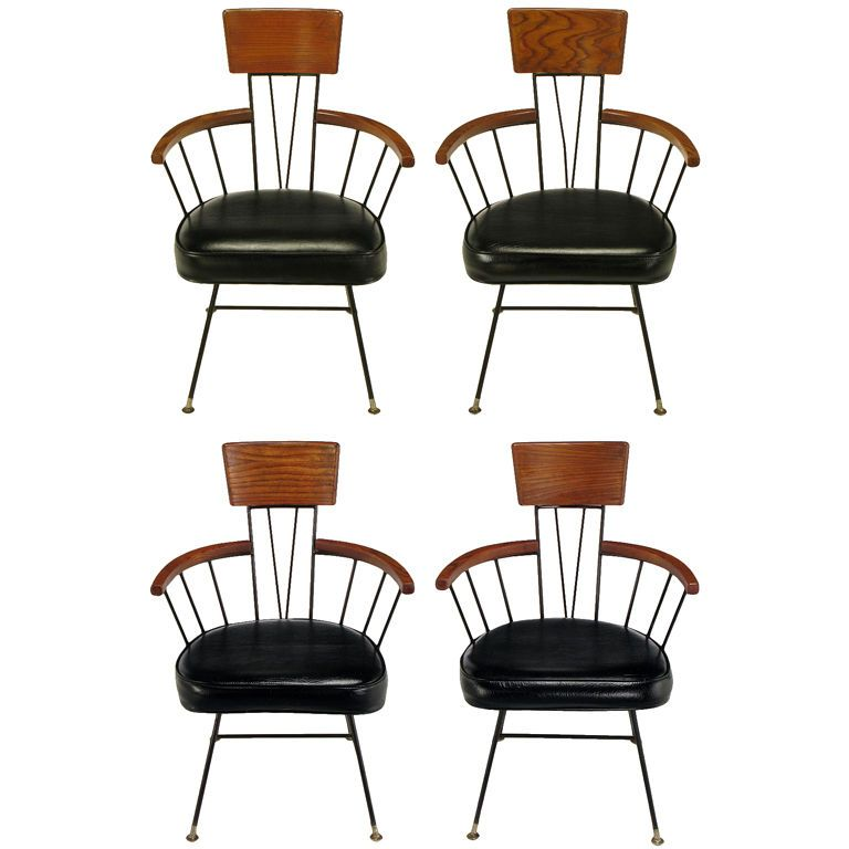 Set Four Paul Mccobb Wrought Iron Ash Dining Chairs From A