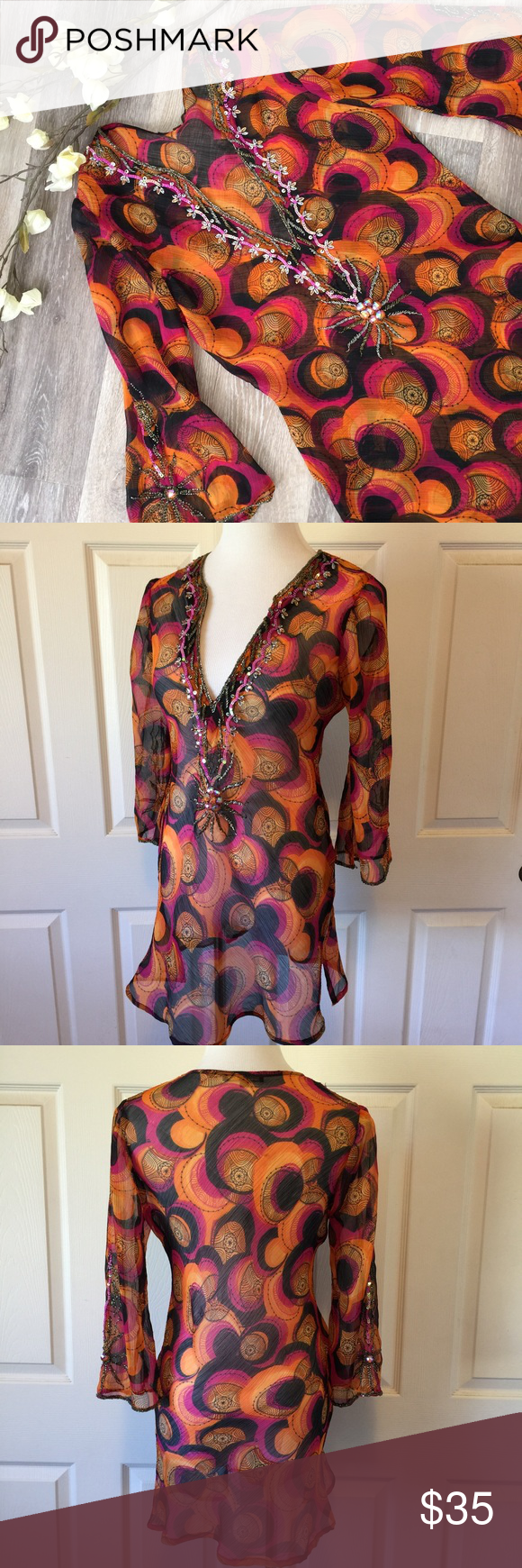 c551e8672b8 SEQUIN TUNIC Beautiful colors of orange, purple and black on this sheet Boho  tunic featuring