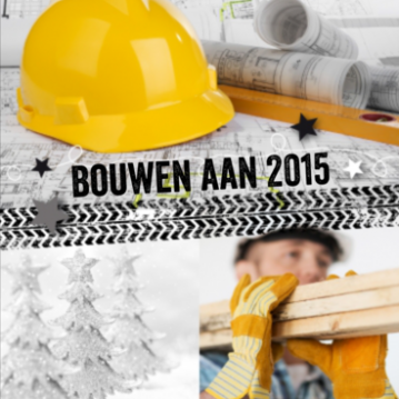 Zakelijke nieuwjaarskaart met bouwhelm en bouwvakker