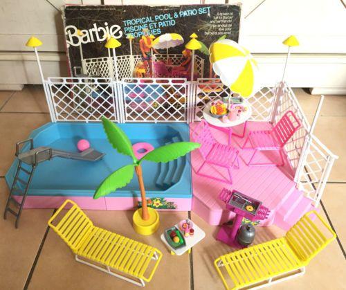 barbie piscine et patio tropiques en boite vintage 1987 barbies ann es 80 90. Black Bedroom Furniture Sets. Home Design Ideas