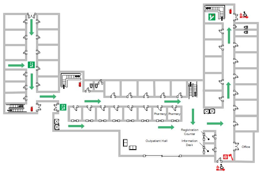 Flucht- und Rettungsplan für Krankenhaus | Grundriss Baupläne ...