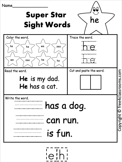 Free Sight Word Worksheet He Free4classrooms In 2020 Sight Word Worksheets Kindergarten Worksheets Sight Words Preschool Sight Words