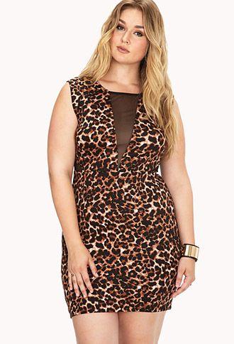 lovely leopard mesh bodycon dress | forever21 plus - 2000073966
