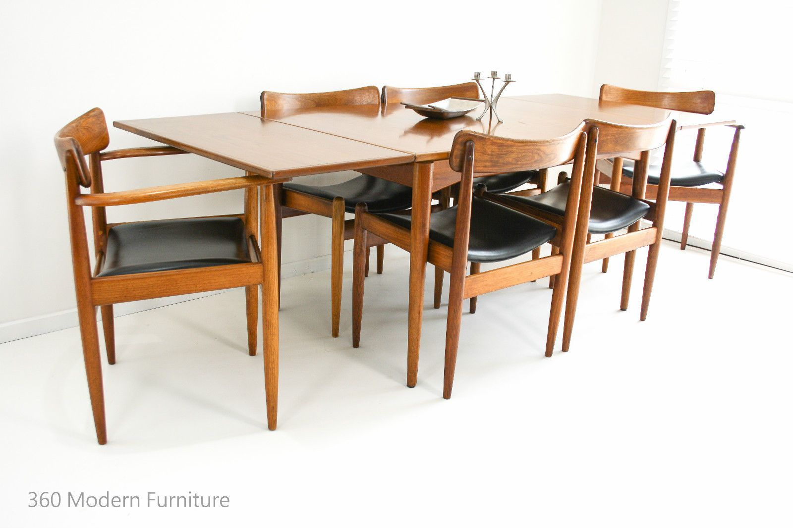 Mid Century Parker Nordic Dining Chairs X 6 Vintage Retro Carvers