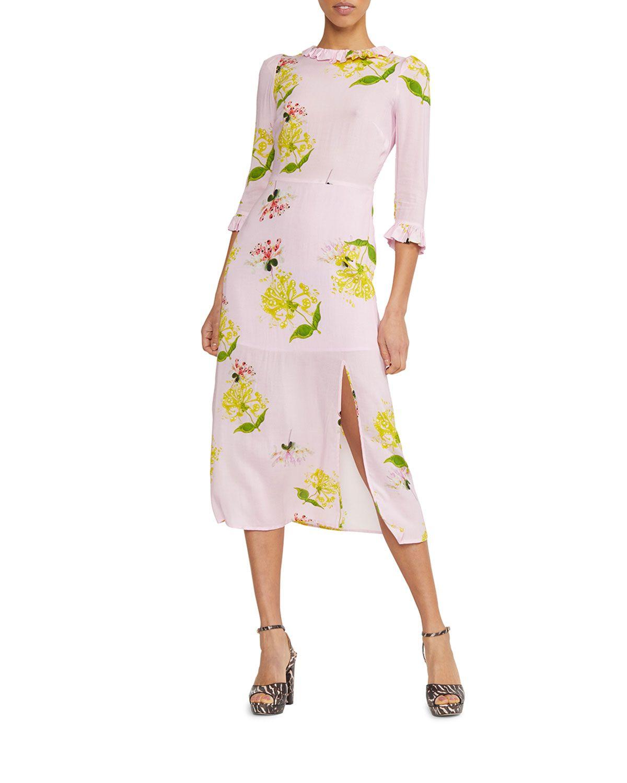 Cynthia Rowley Elena Floral Print 3 4 Sleeve Midi Dress Midi Dress With Sleeves Daytime Dresses Midi Dress [ 1500 x 1200 Pixel ]