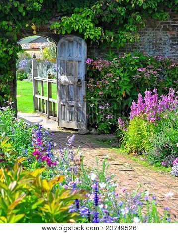 Picture or Photo of Very old english garden gate leading into