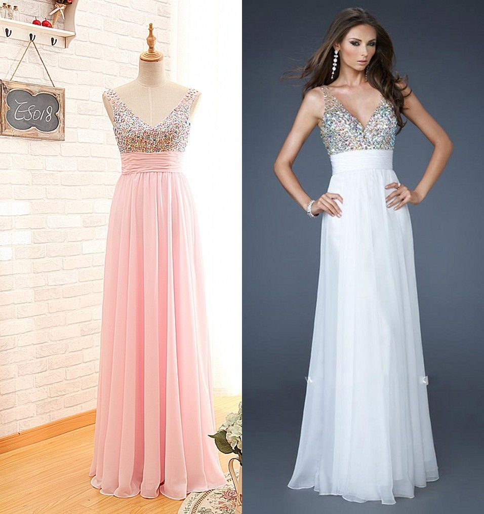 Handmade beaded vneck pearl pink prom dressbeaded party dresslong