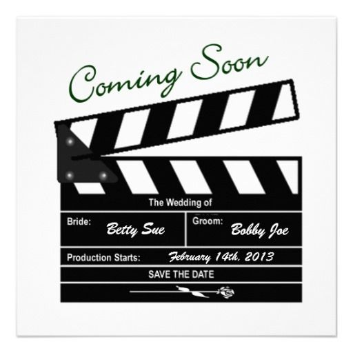 movie clapboard wedding save the date card | wedding, Powerpoint templates