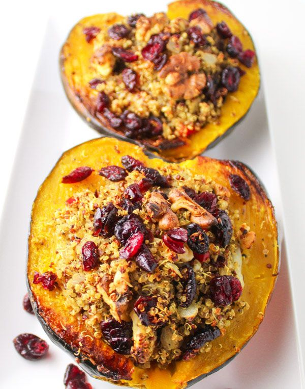 Roasted Acorn Squash With Cranberry Walnut Quinoa Stuffing