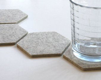 Gray Minimalist Geometric Drink Cup Table Coasters by feltplanet & Wool Felt Drink Coasters Hexagon Coaster Set Minimalist Housewarming ...