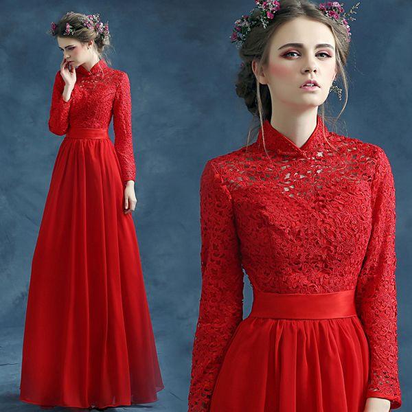 Lace top mandarin collar long sleeve red A-Line evening dress. Looks very  Princess Buttercup-ish 1ad8182e7618