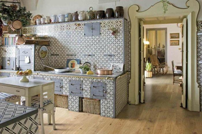 Cocinas modernas peque as cocina con paredes en azulejos - Azulejos cocinas rusticas ...
