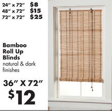 24 X 72 Bamboo Roll Up Blinds From Lots 8 00