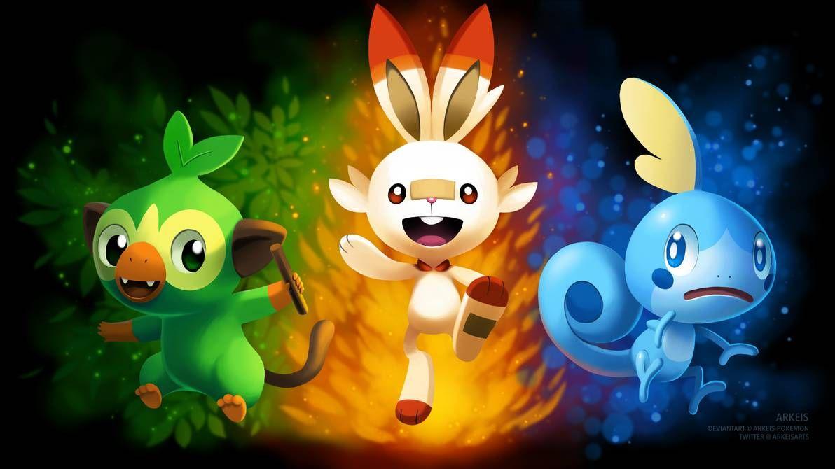 Wallpaper Pokemon Sword Shield Starters By Https Www Deviantart Com Arkeis Pokemon On Deviantart Pokemon Pokemon Rayquaza Pokemon Starters