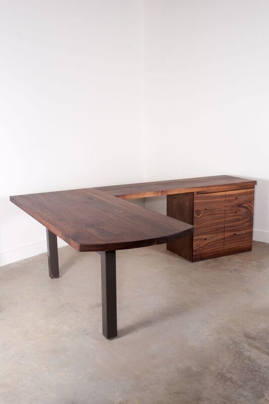 Hand Crafted Walnut L Shaped Desk Furniture Home Office Decor Guest Room Office