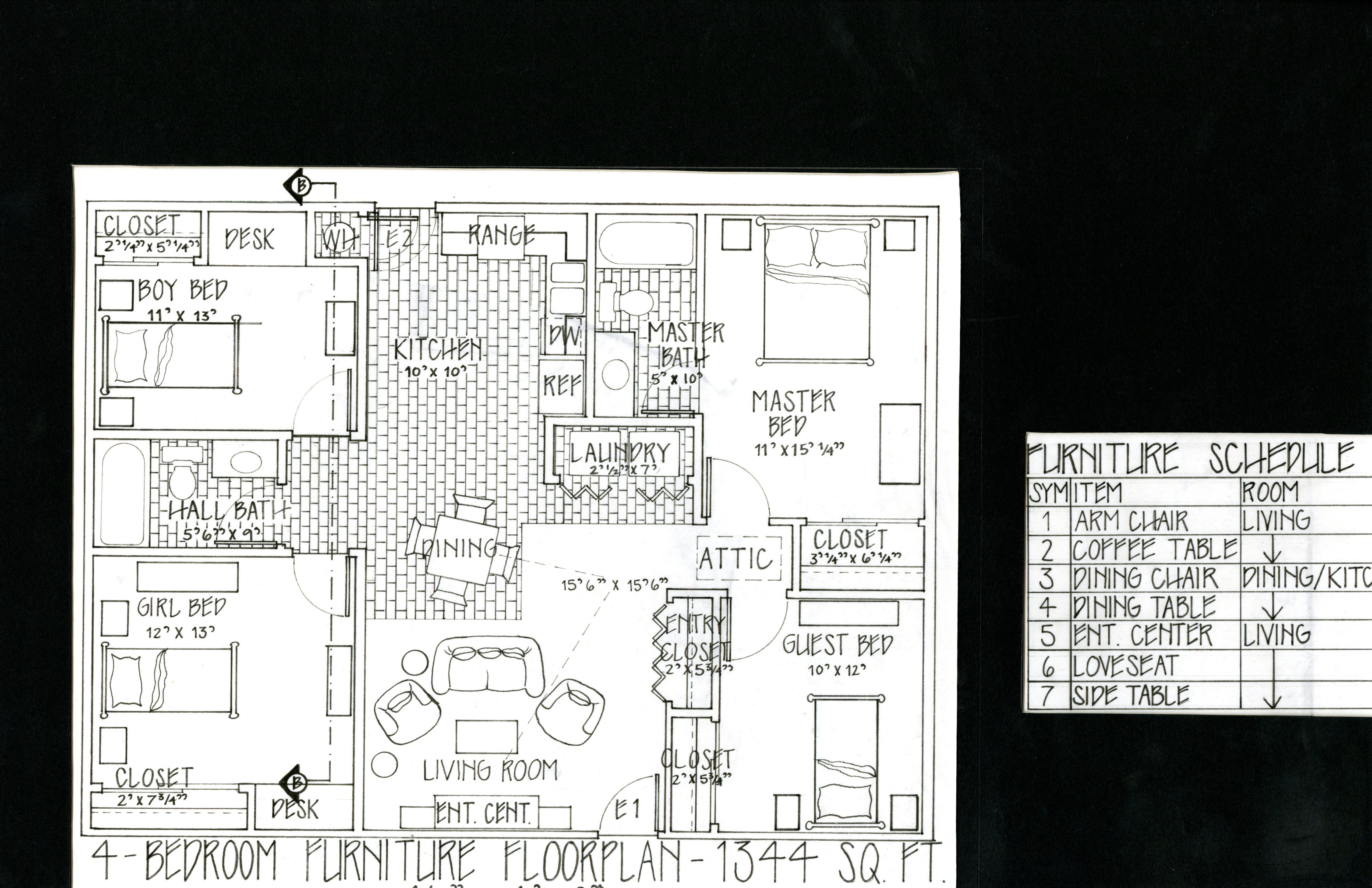 Habitat For Humanity Home Hand Drafted Floor Plan Pencil Micron Pen University Interior Design Floor Plans Habitat For Humanity