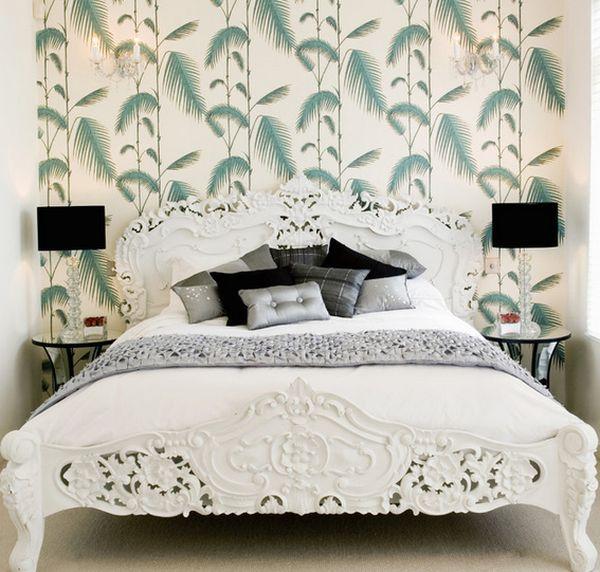 wohnideen im schlafzimmer wandgestaltung tapeten muster wand - moderne tapeten schlafzimmer