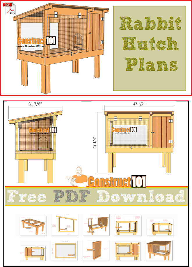 rabbit hutch plans free pdf download cutting list and shopping list