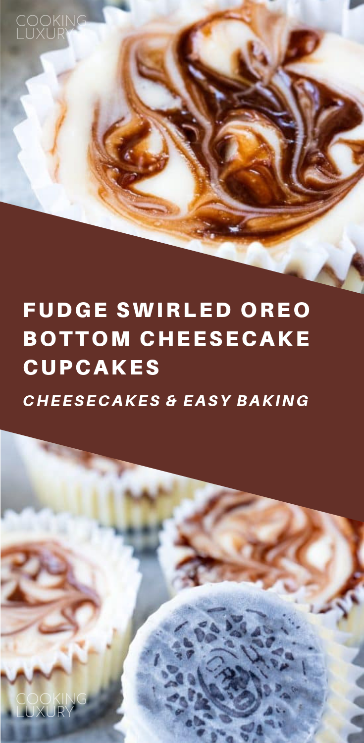 Fudge Swirled Oreo Bottom Cheesecake Cupcakes Recipe