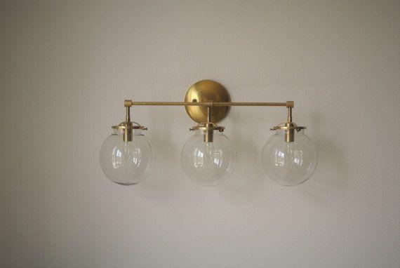 Triple Glass Globe Brass Wall Sconce   Bathroom Vanity Light   9 Globe  Options