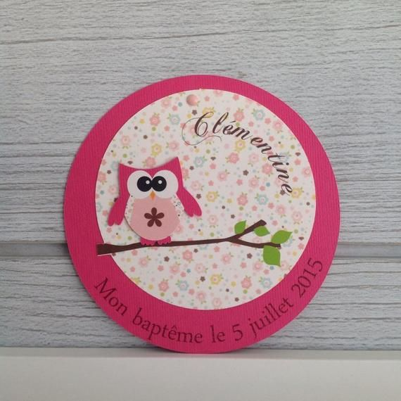 10 round – OWL Theme birth announcement or christening invitation