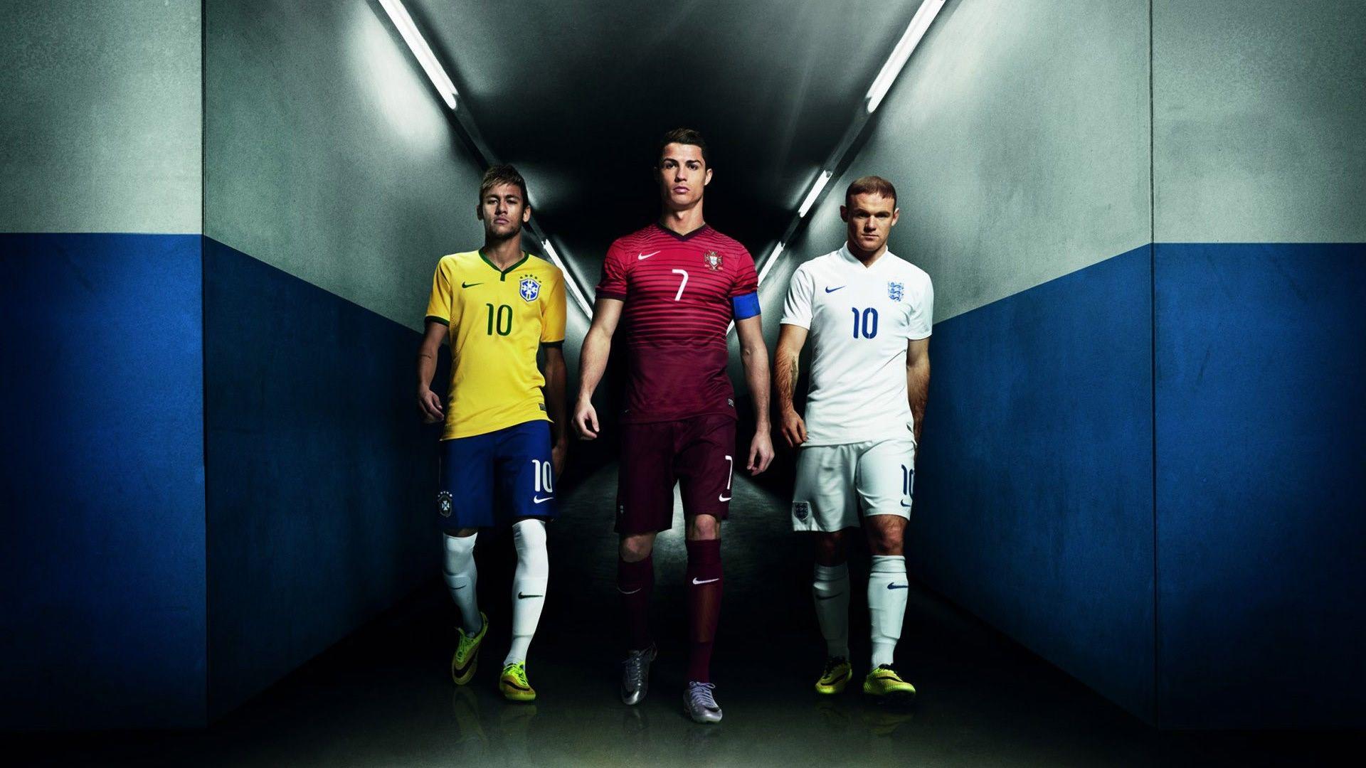 Wallpaper featuring Neymar da Silva Santos Junior, Cristiano Ronaldo and  Wayne Rooney. Neymar, Ronaldo, and Rooney – Nike wallpaper written by  Cristiano ...