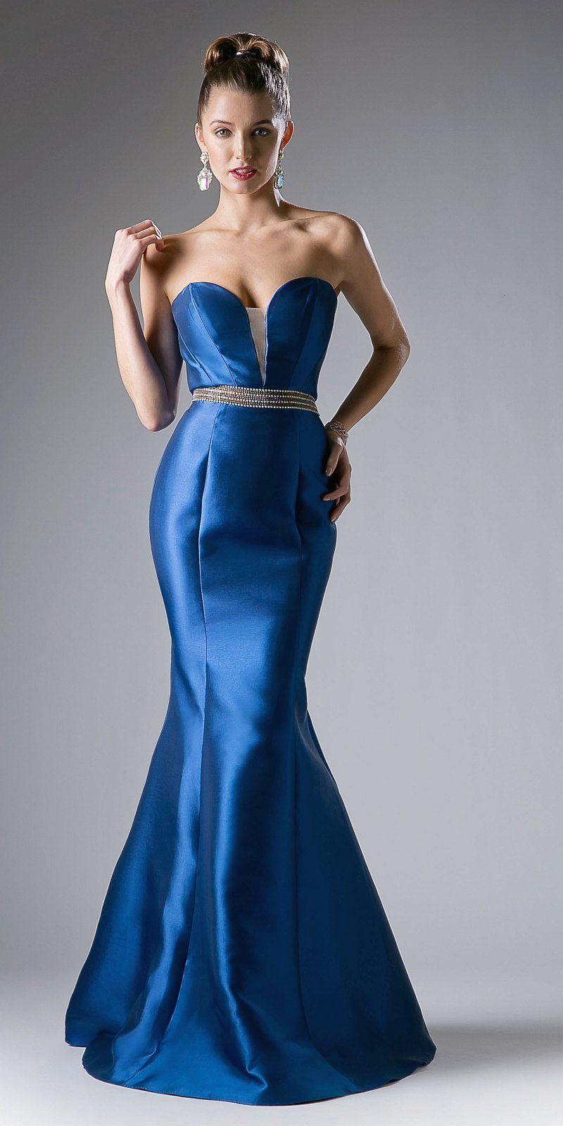 Strapless mermaid long prom dress cutout back fuchsia in