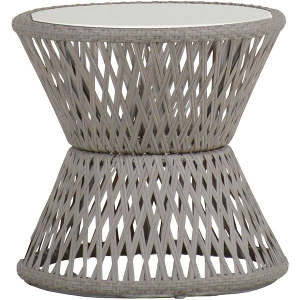 Echo Woven Grey Hourglass Outdoor End Table ($319) ❤ liked on Polyvore featuring home, outdoors, patio furniture, outdoor tables, outdoor end tables, gray end table, outdoor side table, outdoor garden table and outdoor furniture